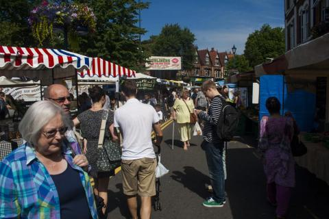 Stalls at Mosely Farmers Market